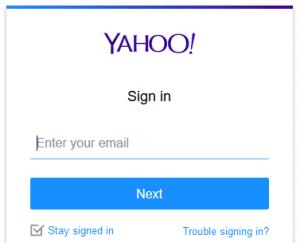 yahoo! mail inlogscherm